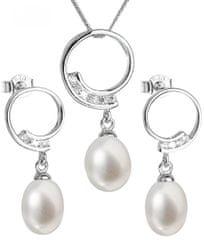 Evolution Group Luxusná strieborná súprava s pravými perlami Pavona 29030.1 striebro 925/1000