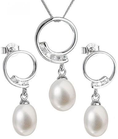 Evolution Group Luksusowy srebrny zestaw z prawdziwymi perłami Pavon 29030.1 srebro 925/1000