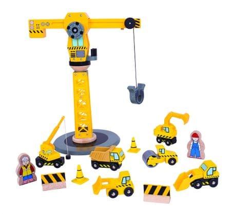 Bigjigs Rail Żuraw i maszyny budowlane