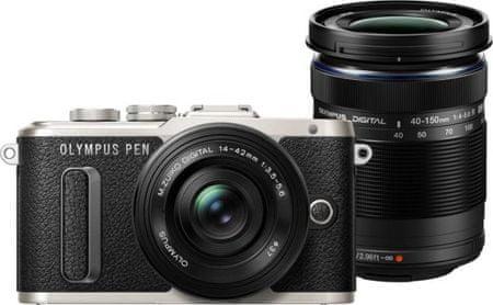 Olympus fotoaparat PEN E-PL8 + 14‑42 EZ + 40-150 R Pancake Double Zoom Kit, črn
