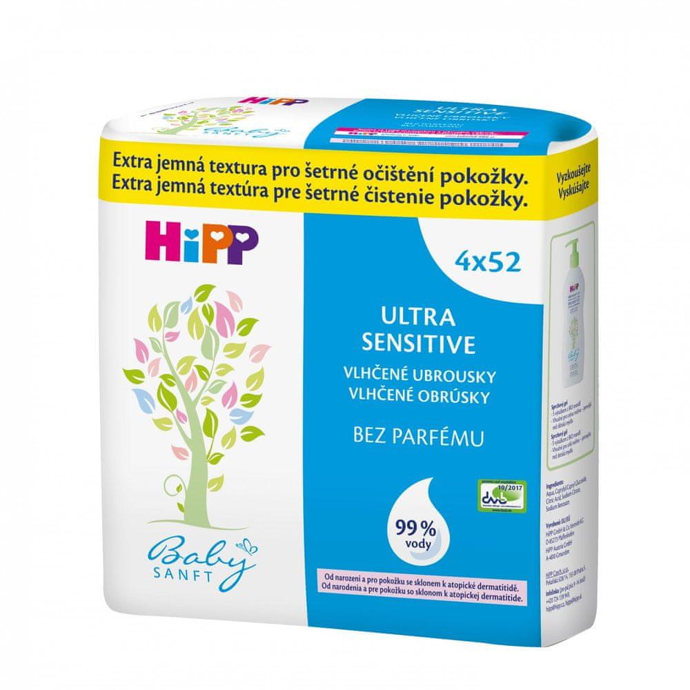HiPP Babysanft Vlhčené ubrousky Ultra Sensitive, 4x52ks