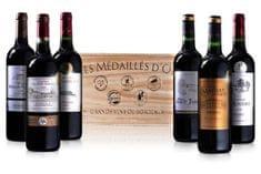 Les Medailles d'Or de Bordeaux v luxusní dřevěné krabici balení - 6 ks