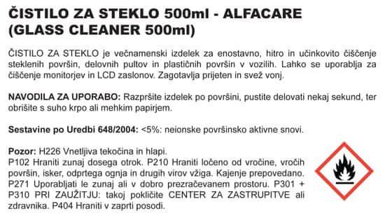Alfacare sredstvo za čišćenje stakla, 500ml (pumpica)