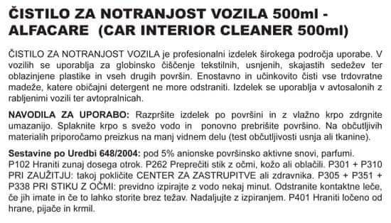 Alfacare čistilo za notranjost vozila, 500 ml (pumpica)