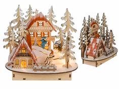 Toro Zimní LED dekorace 17 × 8 × 17 cm, dřevo