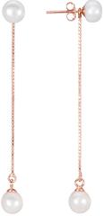 JwL Luxury Pearls Dlouhé stříbrné náušnice 2v1 s pravými perlami JL0451 stříbro 925/1000