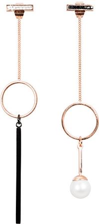 JwL Luxury Pearls Bronzové asymetrické náušnice s pravou perlou JL0484CH