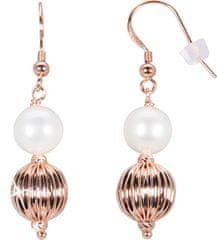 JwL Luxury Pearls Bronzové náušnice s pravou perlou JL0442 stříbro 925/1000
