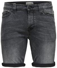 ONLY&SONS Ply Shorts Dark Grey Cr férfi sort8604 Grey Denim