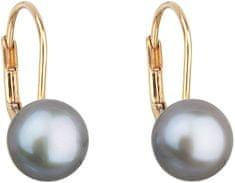 Evolution Group Arany gyöngy fülbevaló valódi gyöngyökkel Pavon 921009.3 szürke sárga arany 585/1000
