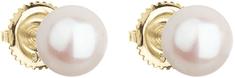 Evolution Group Arany fülbevaló bazsalikom valódi gyöngyökkel Pavon 921004.1 sárga arany 585/1000