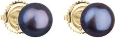 Evolution Group Arany fülbevaló bazsarózsa gyöngy gyöngyökkel 921004.3 páva sárga arany 585/1000