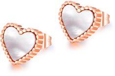 Troli Bronzové srdíčkové náušnice s perleťovým středem