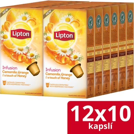 Lipton Bylinný aromatizovaný čaj Heřmánek, pomeranč a med 120 kapslí