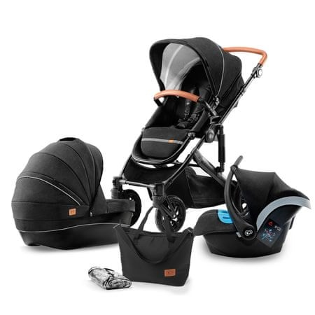KinderKraft otroški voziček PRIME 3v1, črn