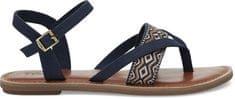 Toms Kobiety ciemny niebieski sandały strappy Navy Płótno Haft Lexie Sandały