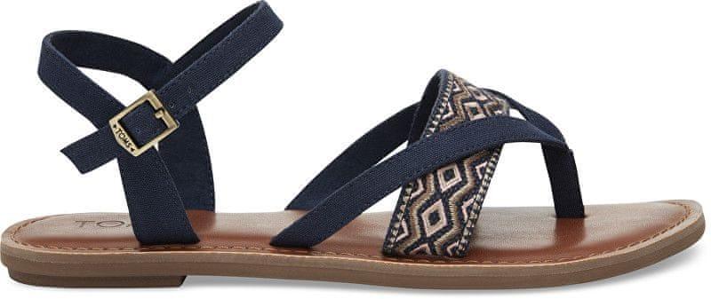 9e8b594493e Toms Dámské tmavě modré páskové sandále Navy Canvas Embroidery Lexie  Sandals (Velikost 39)