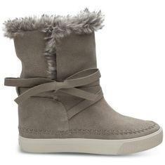 Toms Kobiety brązowe buty Des Wp Taupe Suede / Fur Vista