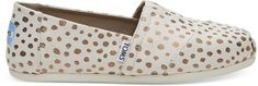 Toms Dámske Slip-On Rose Gold / Natural Canvas Dots Alpargata