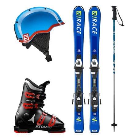 Salomon Půjčení lyžařského setu (lyže 130 cm, boty 22.5, hůlky 100 cm, helma)