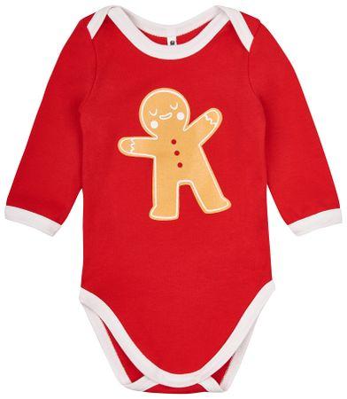 Garnamama otroški bodi Christmas, 56, belo-rdeč