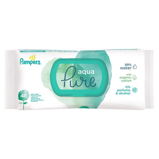 Pampers Aqua Pure vlhčené ubrousky - 48 ks
