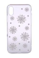 EPICO Pružný plastový kryt pro iPhone X/iPhone XS WHITE SNOWFLAKES