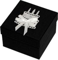 Luxus ajándékdoboz ezüst színű tortával díszítve