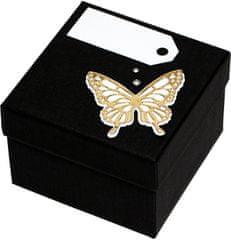 Luxus ajándékdoboz arany színű pillangóval díszítve