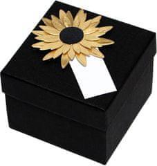 Luxus ajándékdoboz arany színű napraforgóval díszítve
