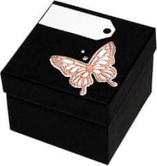 Luxus ajándékdoboz bronz színű pillangóval díszítve