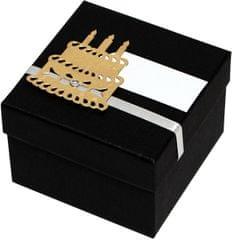 Luxus ajándékdoboz arany színű tortával díszítve