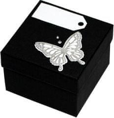 Luxus ajándékdoboz ezüst színű pillangóval díszítve