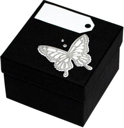 Luksusowy pudełko z Srebrny m motyl