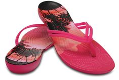 Crocs Női Crocs Isabella Graphic Pink Candy Flip / Tropical 204196-6JS