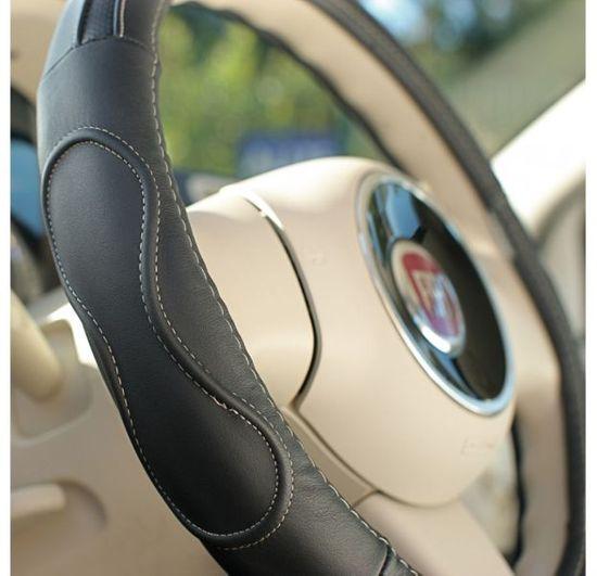 MAMMOOTH Poťah na volant Premium, prírodná koža, 36,5 - 38 cm, čierny