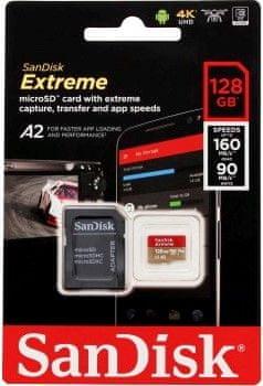SanDisk Adapter Extreme Micro SDXC 128 GB A2 C10 V30 UHS-I + (SDSQXA1-128G-GN6MA)