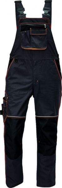 Červa KNOXFIELD kalhoty s laclem antracitová/žlutá 62