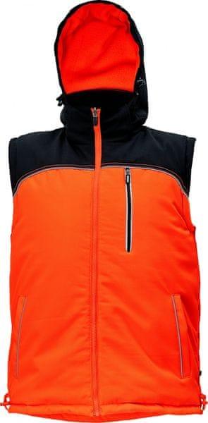 Červa KNOXFIELD oboustranná zimní vesta antracitová/žlutá XL