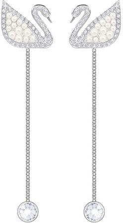 Swarovski Luksusowy podwójny łabędź Kolczyki SWAN 5429270