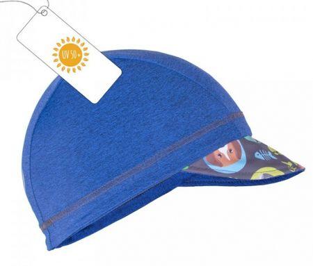 Unuo Chlapčenská čiapka so šiltom Mačka a pes UV 50+ 40/43 modrá