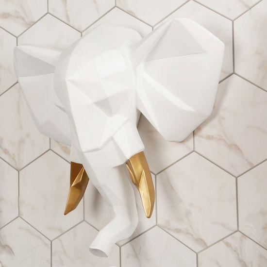 Walplus Nástěnná dekorace bílo-zlatá hlava slona