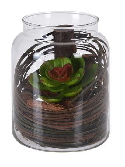 Koopman Dekorační umělá květina ve skleněné dóze, dekor č.1