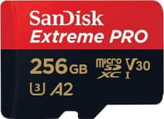 SanDisk spominska kartica Micro SDXC Extreme Pro + adapter SD, 256GB