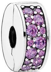 Pandora Třpytivý fialový klip 791817CFP stříbro 925/1000