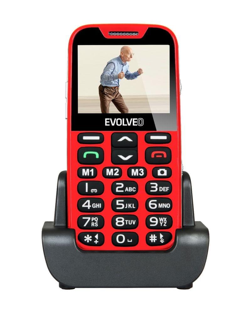 Evolveo EasyPhone XD, červený, nabíjecí stojánek