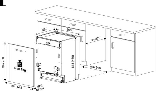 Beko vstavaná umývačka DIN26420