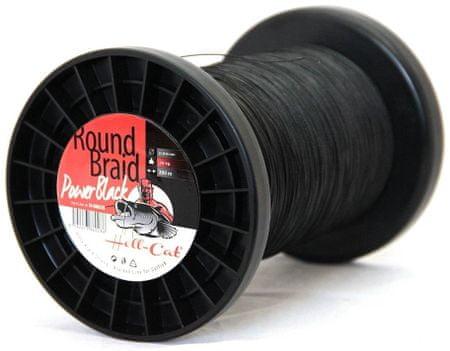 Hell-Cat Splétaná Šňůra Round Braid Power Black 1000 m 0,80 mm, 100 kg