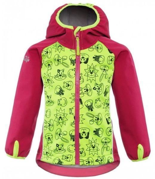 good2go dívčí softshellová bunda 98 růžová/žlutá