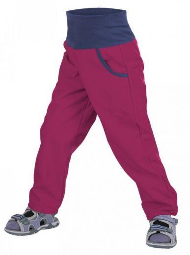 Unuo Dívčí softshellové kalhoty bez zateplení 128-134 růžová